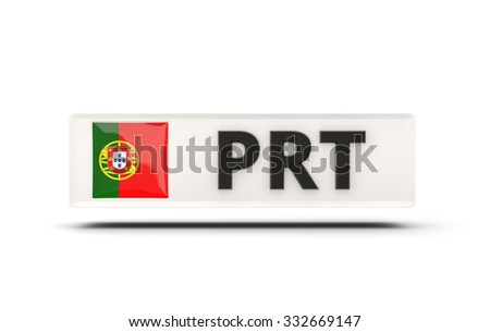 Square icon with flag of portugal and ISO code - stock photo