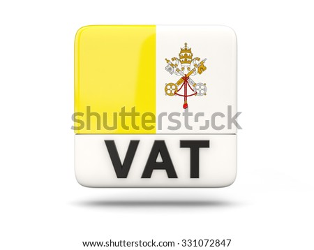 Square icon with flag of vatican city and ISO code - stock photo