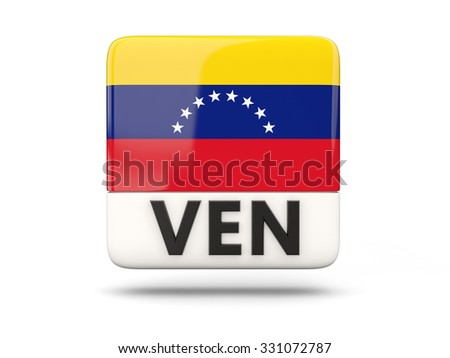 Square icon with flag of venezuela and ISO code - stock photo
