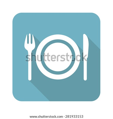 Square icon with image of plate, fork and knife, isolated on white - stock photo