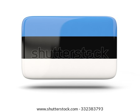 Square icon with shadow and flag of estonia - stock photo