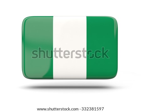 Square icon with shadow and flag of nigeria - stock photo