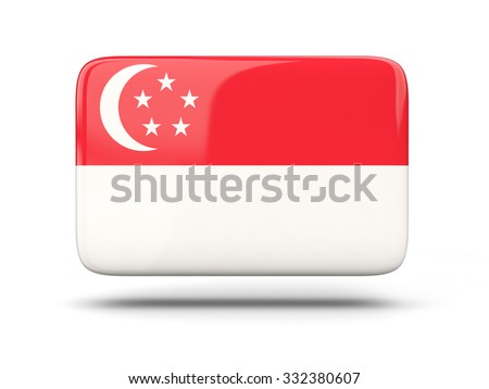 Square icon with shadow and flag of singapore - stock photo