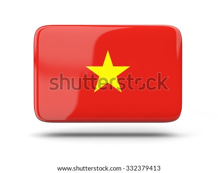 Square icon with shadow and flag of vietnam - stock photo