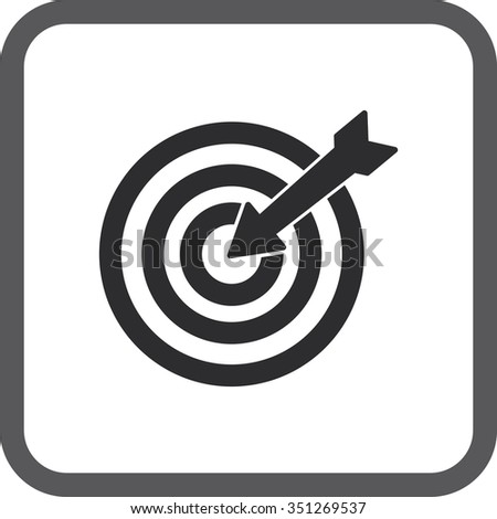 Square icons  target with arrow flat icon for apps and websites.  - stock photo