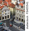Square in Prague with old red tram from the top point of view - stock photo