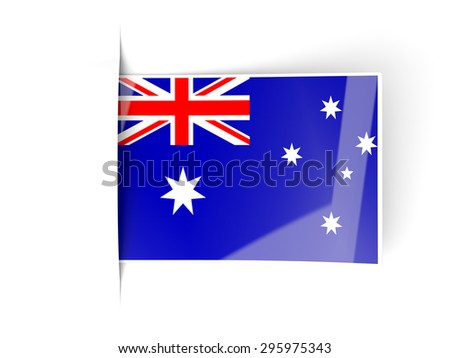 Square label with flag of australia isolated on white - stock photo