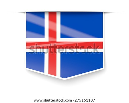 Square label with flag of iceland isolated on white - stock photo