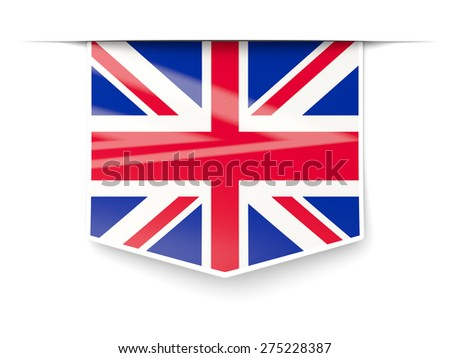 Square label with flag of united kingdom isolated on white - stock photo