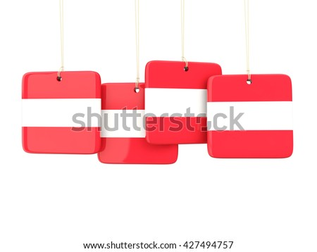 Square labels with flag of austria. 3D illustration - stock photo