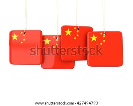 Square labels with flag of china. 3D illustration - stock photo