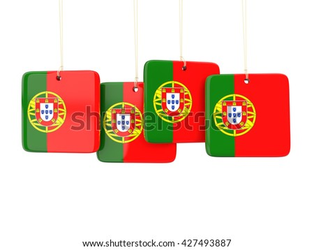 Square labels with flag of portugal. 3D illustration - stock photo