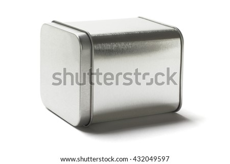 Square Metal Tin Can Lying on White Background - stock photo