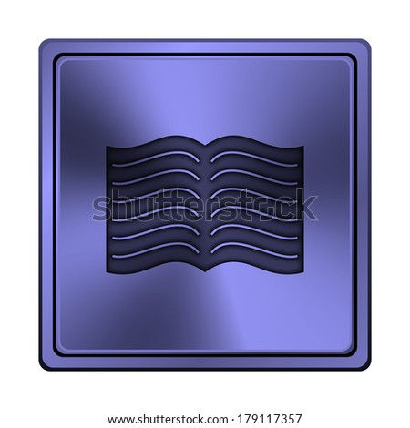 Square metallic icon with carved design on blue background - stock photo