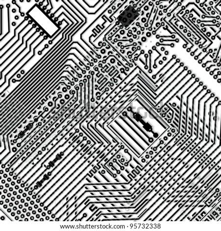 Square monochrome background - design multi-layered electronic circuit board - stock photo