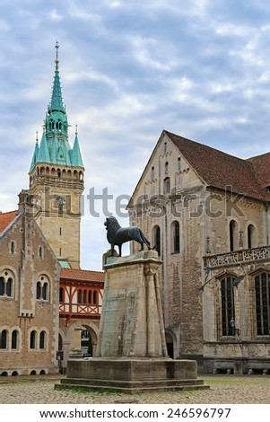 Square near Braunschweig cathedral, Germany  - stock photo