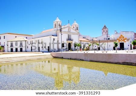 Square of Lagos city in Algarve, Portugal - stock photo