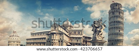 Square of Miracles, Pisa Cathedral and the Leaning Tower of Pisa, Pisa, Tuscany, Italy - stock photo