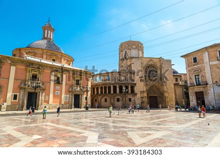 Square of Saint Mary's in Valencia in a summer day on, Spain - stock photo