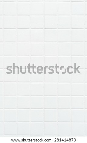 Square old tile wall painted white color background texture, portrait - stock photo