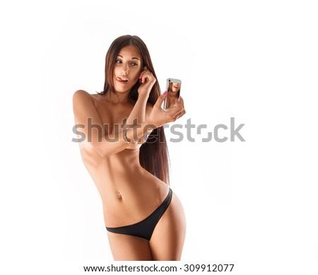 Square photo of beautiful brunette making selfie in studio. white background. isolated. copy space. - stock photo