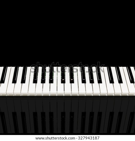 square photo of beautiful classical piano keys & reflection. isolated on black and copy space for music background - stock photo