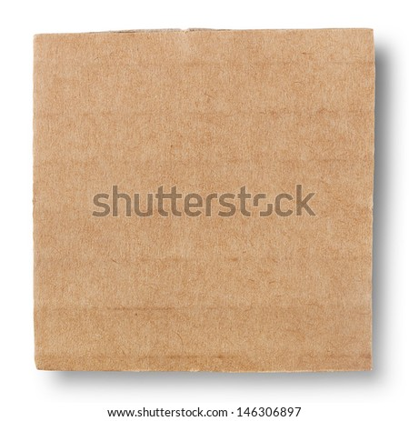 Square piece of cardboard isolated on white background - stock photo