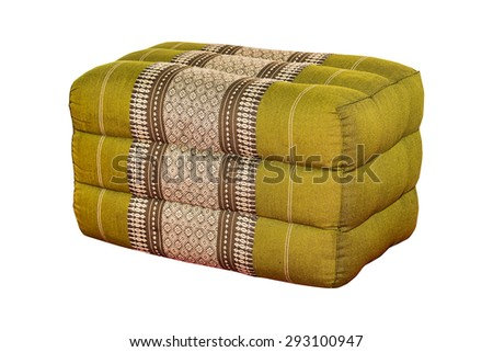 Square Pillow tradition native Thai style pillow isolated on white, work with path. - stock photo