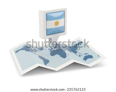 Square pin with flag of argentina on the map - stock photo