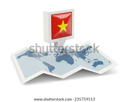 Square pin with flag of vietnam on the map - stock photo