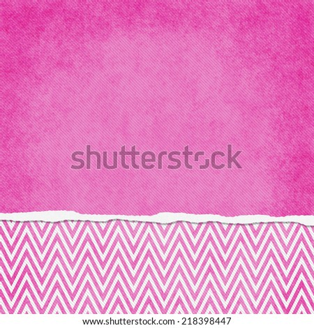 Square Pink and White Zigzag Chevron Torn Grunge Textured Background with copy space at top - stock photo