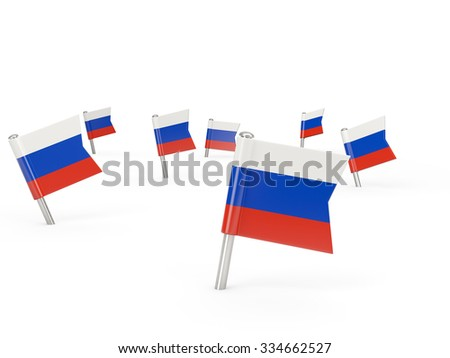 Square pins with flag of russia isolated on white - stock photo