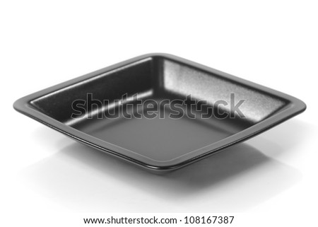 Square plate isolated on white background - stock photo