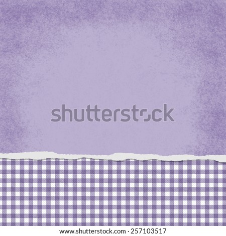 Square Purple and White Gingham Torn Grunge Textured Background with copy space at top - stock photo