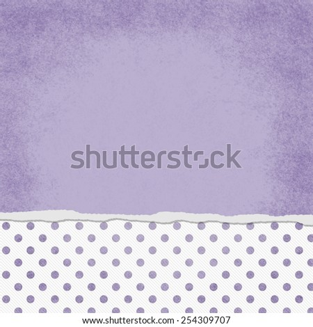 Square Purple and White Polka Dot Torn Grunge Textured Background with copy space at top - stock photo