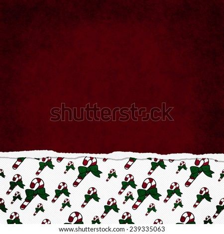 Square Red, Green and White Candy Cane Torn Grunge Textured Background with copy space at top - stock photo
