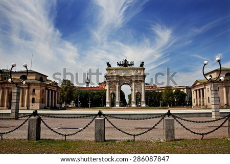 Square  Sempione (Piazza Sempione)  and Arch of Peace, Milan, Lombardy, Italy - stock photo