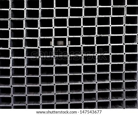 Square shaped metallic profiles - stock photo