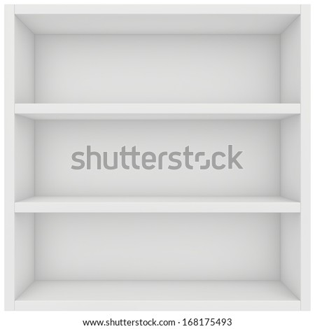 square shelf. 3d render on white background. - stock photo