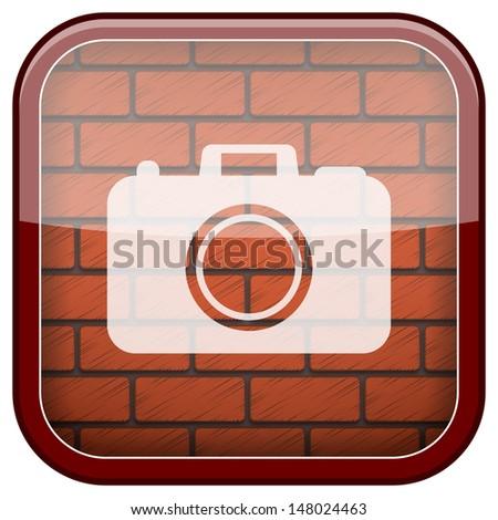 Square shiny icon with white design on bricks wall background - stock photo