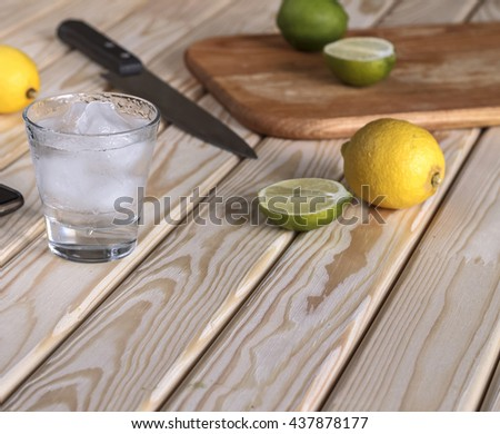 Square shot. closeup. Cocktail vodka or gin with ice vintage, tequila. - stock photo