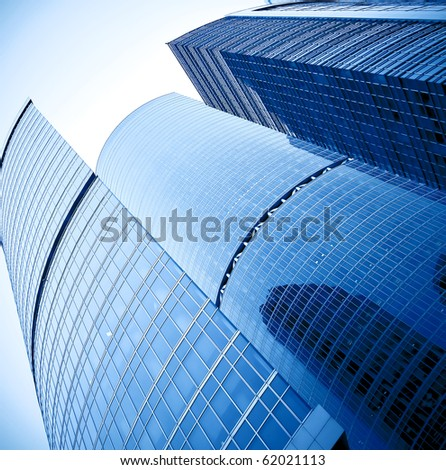 square side of pane in business center - stock photo