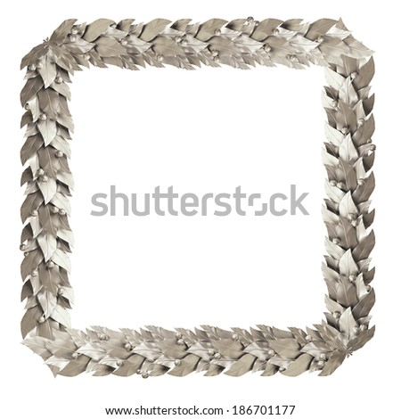 Square silver frame branches of Laurel - stock photo