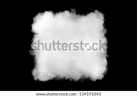 square smoke cloud background, isolated on black - stock photo