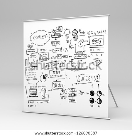 square stand with business concept in gray background - stock photo