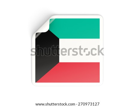 Square sticker with flag of kuwait isolated on white - stock photo