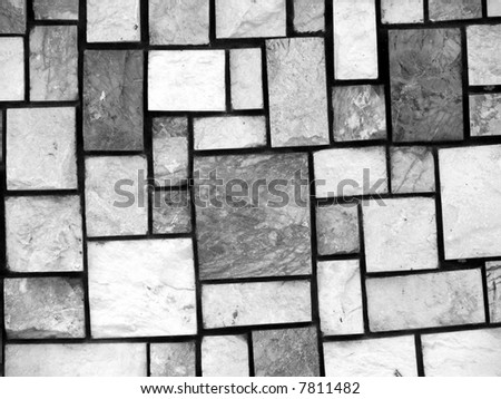 Square stone mixture in shape, texture(B&W) - stock photo