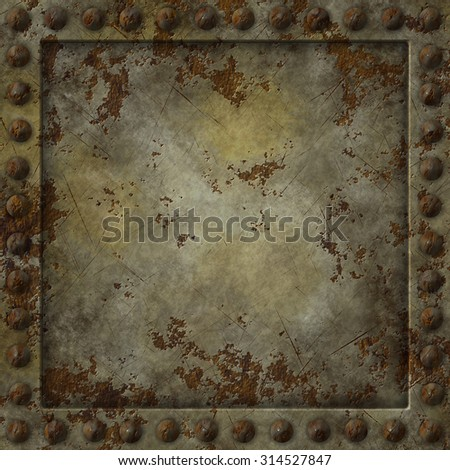 Square texture of a rusty metal plate. - stock photo