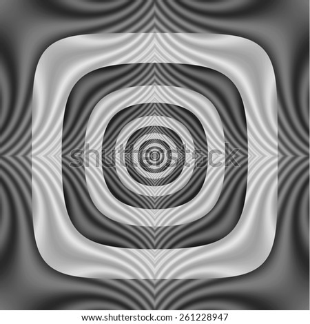 Square the Circle in Black and White / A digital abstract fractal image with a striped square to circle pattern in black and white. - stock photo