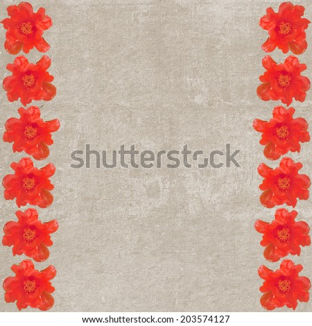 Square vintage textured background with red anemones (seamless strip) - stock photo